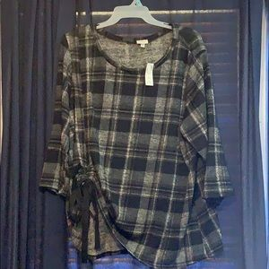 New plaid cinch side top plus size flattering